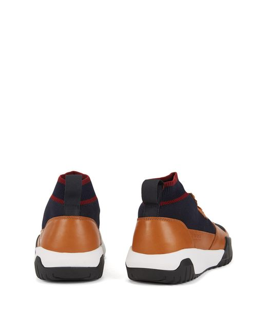 47a79f4fd22 ... BOSS - Multicolor High-top Sock Sneakers With Calf-leather Trims for  Men -