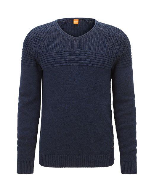 BOSS Orange   Blue Rib-panelled Cotton Sweater for Men   Lyst
