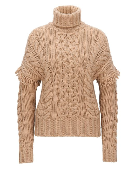 HUGO | Brown Turtle-neck Sweater In Virgin Wool | Lyst