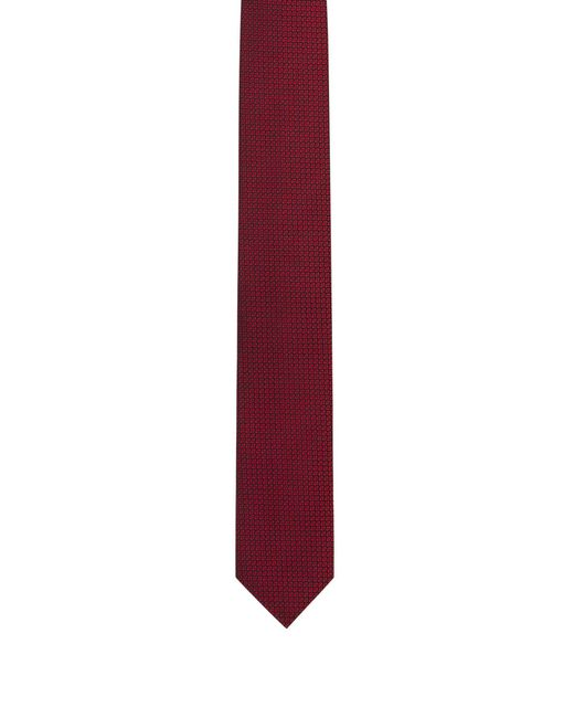 HUGO - Red Silk-jacquard Tie With Micro Pattern for Men - Lyst
