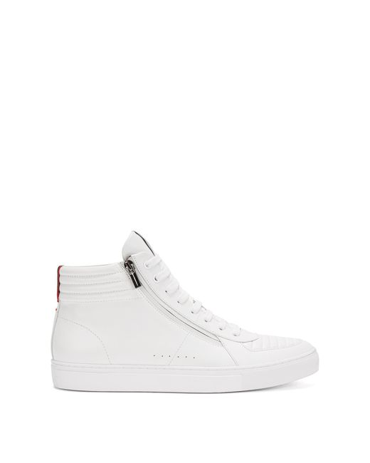 HUGO | White 'futurism Hito Itmtzp' | Leather High-top Sneakers for Men | Lyst