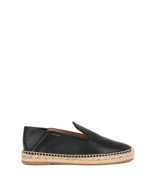 BOSS - Black Leather Espadrilles With Fold-down Heel - Lyst