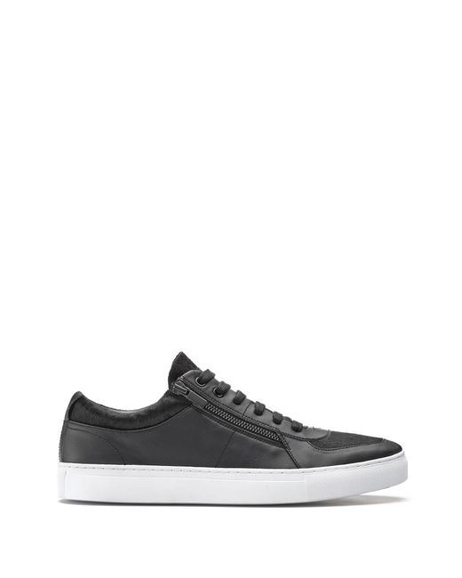 HUGO - Black Low-top Sneakers In Calf Fur And Faux Leather for Men - Lyst