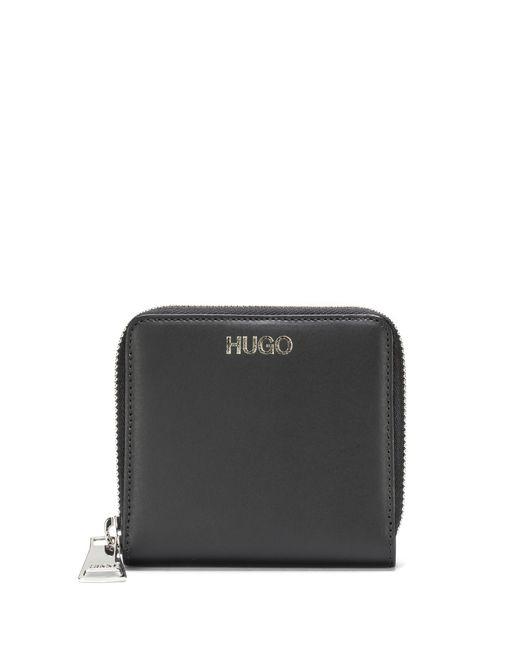 HUGO - Black Zip-around Wallet In Smooth Italian Leather - Lyst