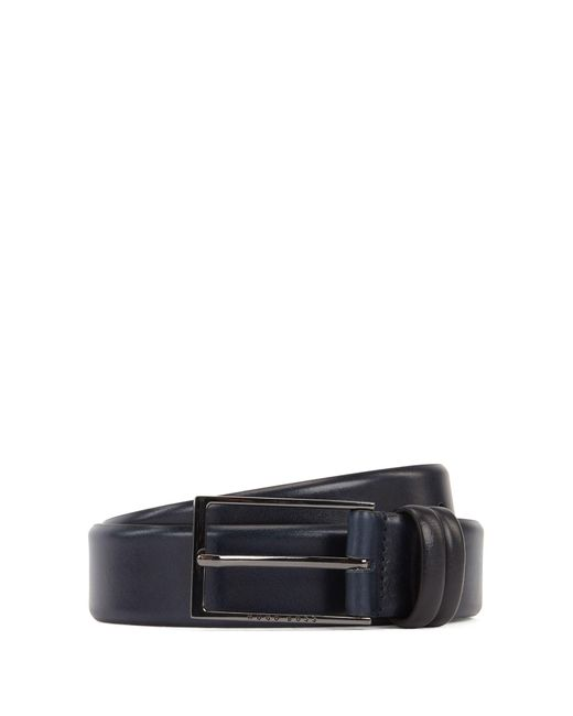 BOSS Blue Two-tone Belt In Vegetable-tanned Leather for men