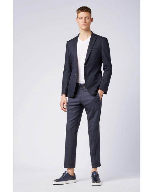 c49cd974 ... BOSS - Blue Extra-slim-fit Jacket In Stretch Cotton for Men - Lyst ...