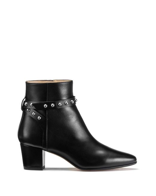 HUGO - Black Leather Ankle Boots With Studded Strap - Lyst