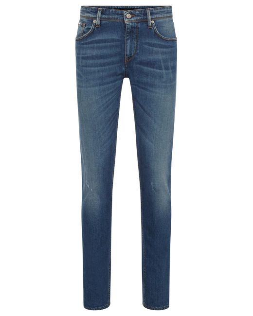 BOSS - Blue Slim-fit Jeans In Washed Stretch Denim for Men - Lyst