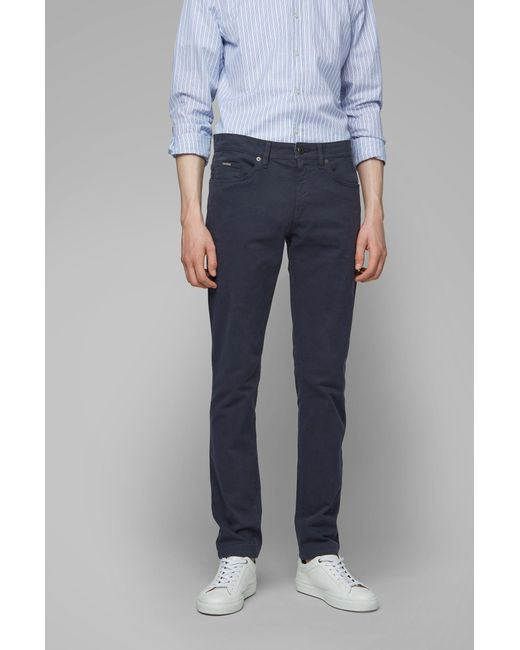 d66c0f747 ... BOSS - Blue Slim-fit Jeans In Satin-touch Stretch Denim for Men ...