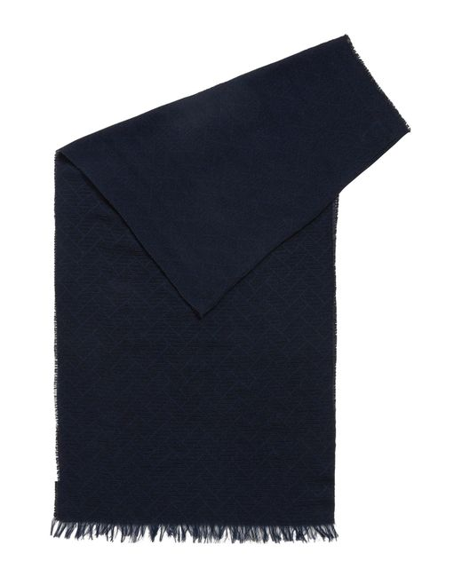 BOSS Orange | Blue Jacquard Scarf In Soft Cotton for Men | Lyst