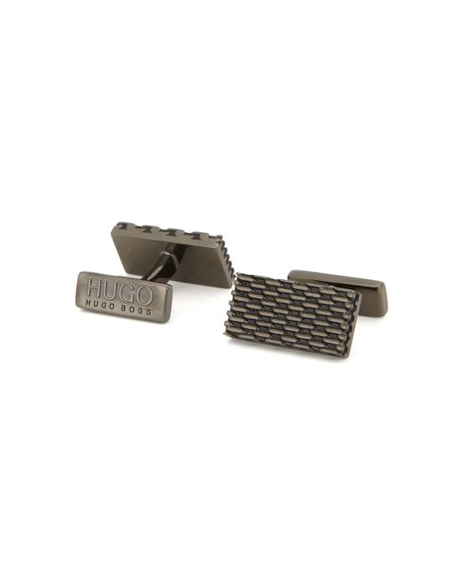 HUGO | Gray Rectangle Polished Metal Milanese Cufflinks for Men | Lyst
