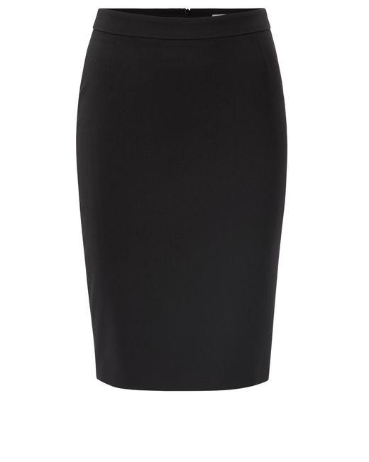 BOSS - Black Stretch Virgin Wool Pencil Skirt | Vilea - Lyst