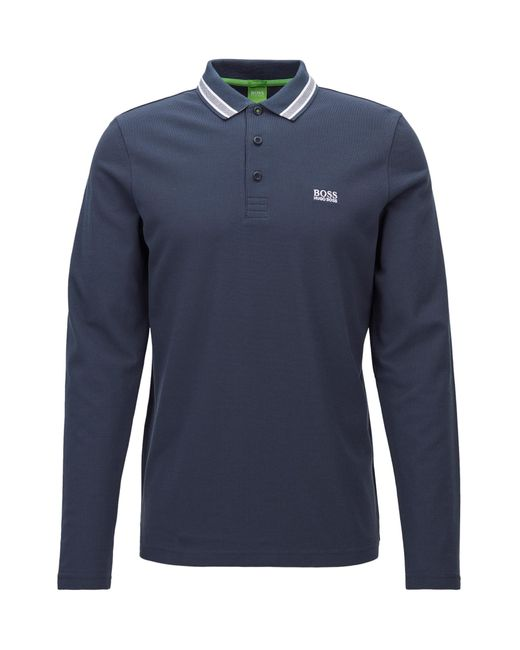 BOSS Green | Blue Long-sleeved Polo Shirt In Cotton Piqué: 'plisy' for Men | Lyst