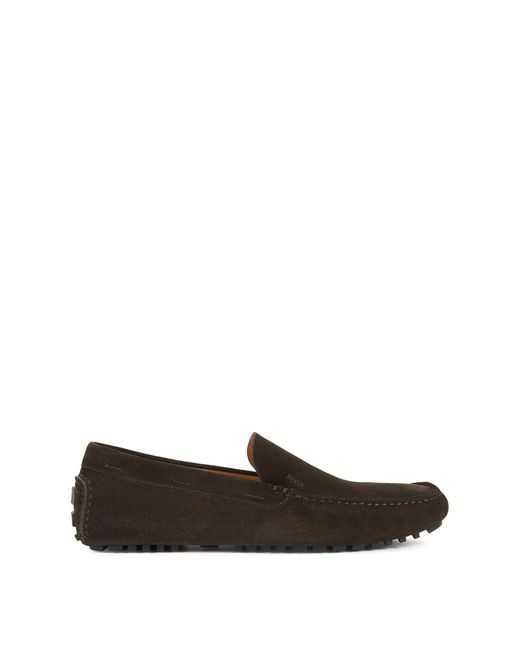 BOSS - Brown Suede Driving Loafer   Leather Driver for Men - Lyst