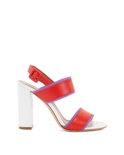 BOSS - Red Block-heel Sandals In Italian Leather - Lyst