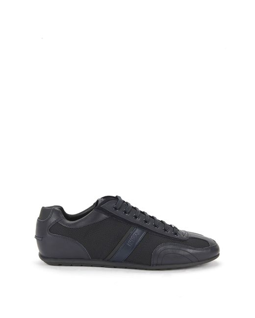 HUGO | Blue Lace-up Trainers With Leather Stripe for Men | Lyst