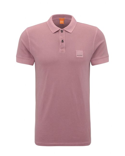 BOSS Orange | Pink Slim-fit Polo Shirt In Washed Cotton for Men | Lyst