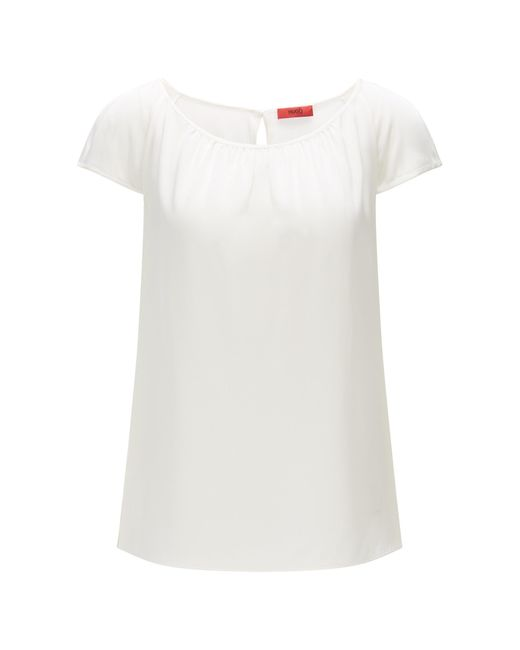 HUGO | White Figure-skimming Top In Stretch Silk: 'catoni-1' | Lyst