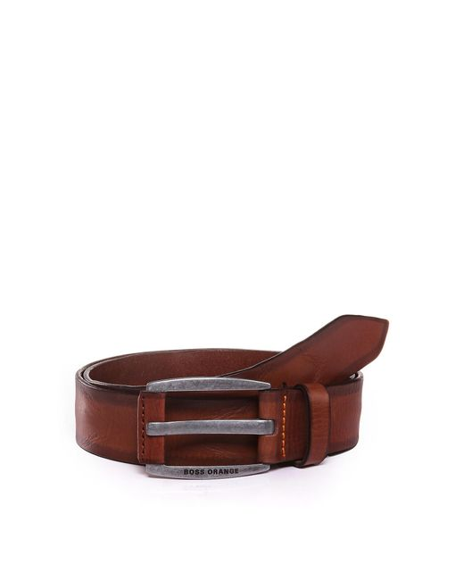 BOSS Orange | Brown Leather Belt With Vintage-inspired Buckle for Men | Lyst