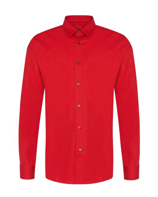 HUGO | Red Extra-slim-fit Shirt In Stretch Cotton for Men | Lyst