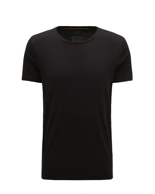 BOSS Orange | Black Regular-fit T-shirt With Raw-cut Detail for Men | Lyst