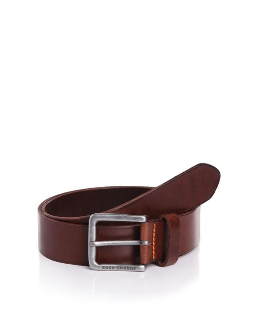 BOSS Orange | Brown Leather Belt With Vintage Clasp: 'jeek' for Men | Lyst