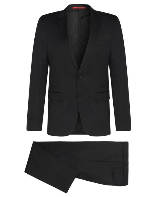 HUGO | Black Slim-fit Suit In Yarn-dyed Virgin Wool for Men | Lyst