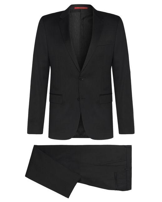 HUGO | Black Slim-fit Suit In Yarn-dyed Virgin Wool for Men | Lyst