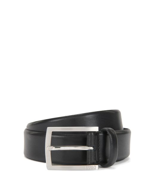 HUGO | Black Leather Belt With Brushed Pin Buckle By Man for Men | Lyst