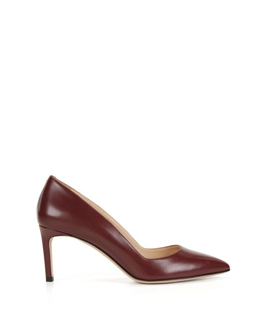 HUGO   Red Pointed-toe Pumps In Smooth Italian Leather   Lyst