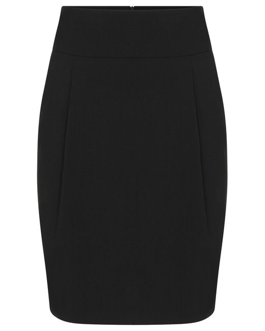 HUGO | Black High-waisted Skirt In Stretch New Wool With Box Pleats: 'ranelle 01' | Lyst