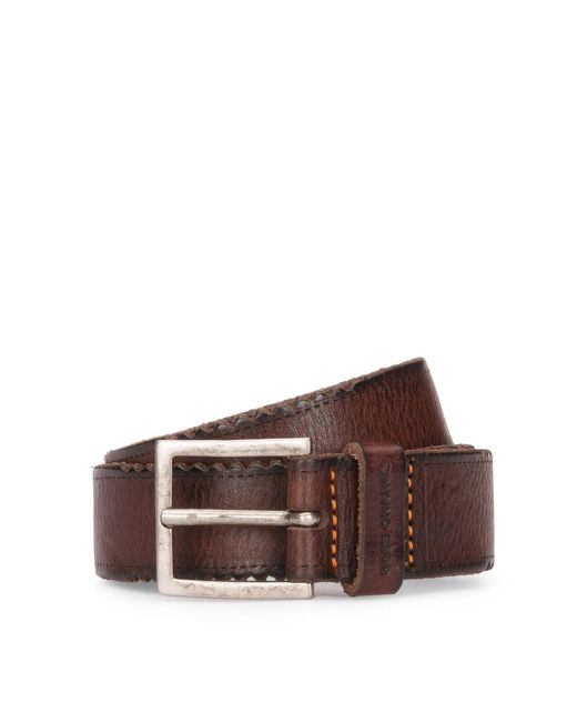 BOSS Orange | Brown Leather Belt With Distressed Edges for Men | Lyst