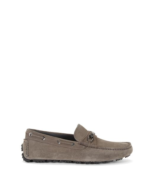 driprin italian leather driving moccasins in gray