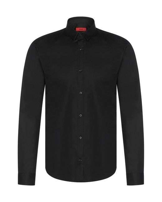 HUGO | Black Slim-fit Shirt In Stretch Cotton: 'etello' for Men | Lyst