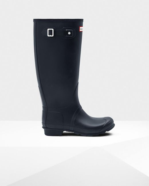 37ab8fa2c4029 Hunter - Blue Original Tall Wide Leg Wellington Boot - Lyst ...