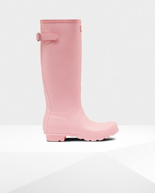 Hunter - Pink Original Tall Back Adjustable Rain Boots - Lyst