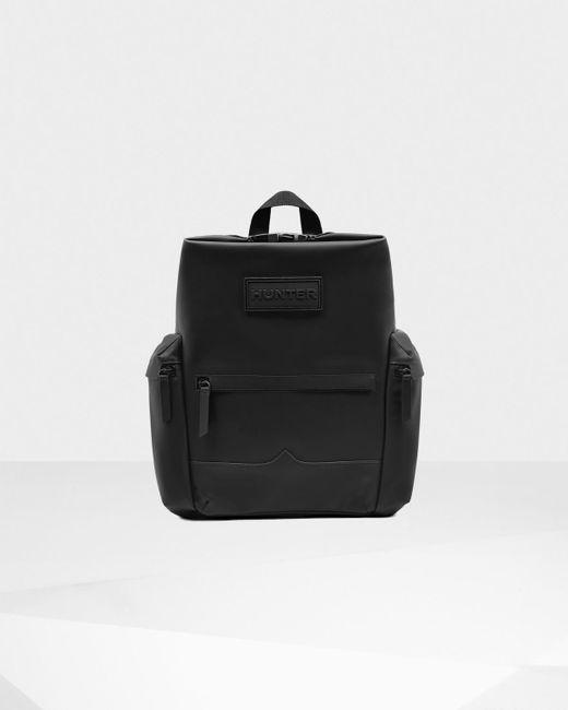 Hunter | Black Original Top Clip Backpack - Rubberised Leather for Men | Lyst