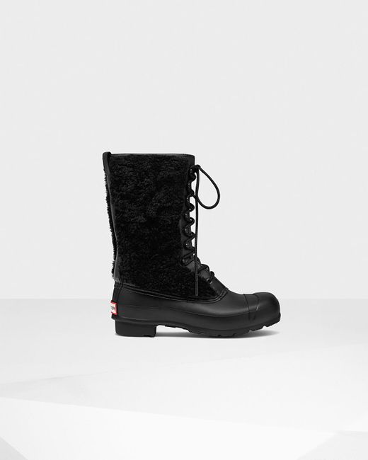 Hunter | Black Women's Original Shearling Lace-up Boots | Lyst
