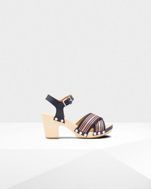 Hunter - Blue Refined Webbing Cross Clog Sandals - Lyst