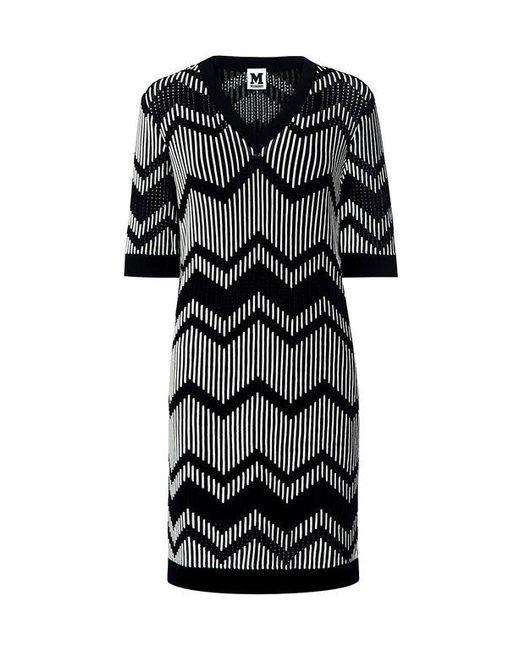 M Missoni - Black Bicolor Zig Zag V-neck Mini Dress - Lyst