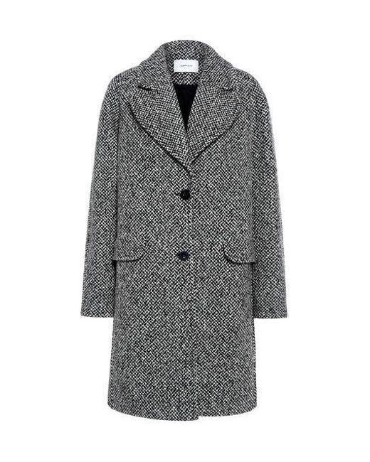 Carven - Gray Oversized Herringbone Tweed Coat - Lyst