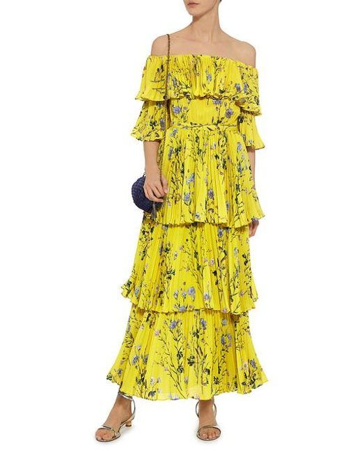 bbbda41c02bc ... Self-Portrait - Yellow Off-the-shoulder Floral Tier Pleated Maxi Dress  ...