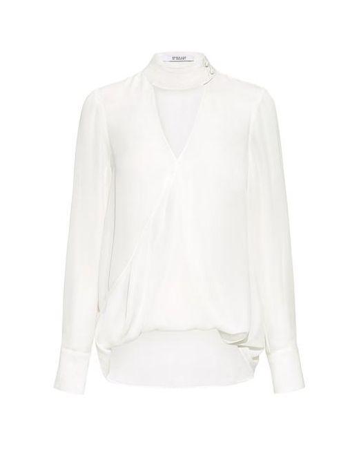 10 Crosby Derek Lam - White Gigi V-neck Collar Silk Blouse - Lyst