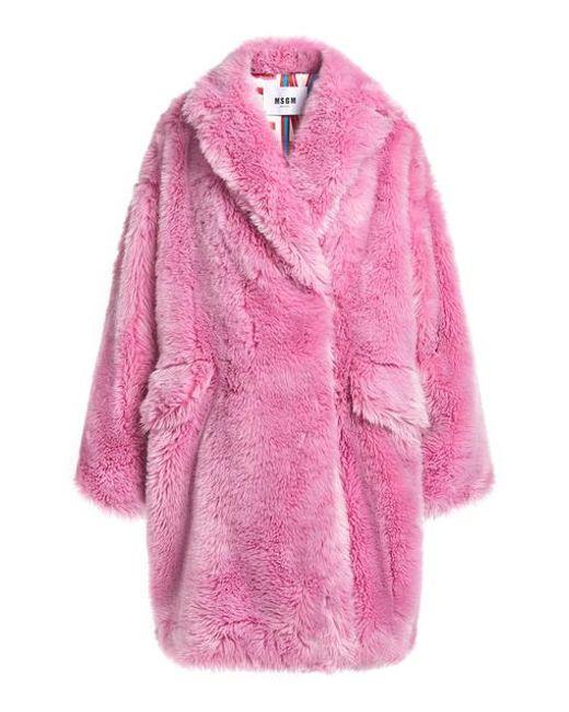 Coat Fur Oversized Faux Pink Lyst Msgm wtCfIqx