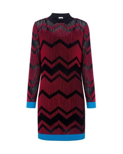 M Missoni - Red Bicolor Mesh Zig Zag Dress - Lyst