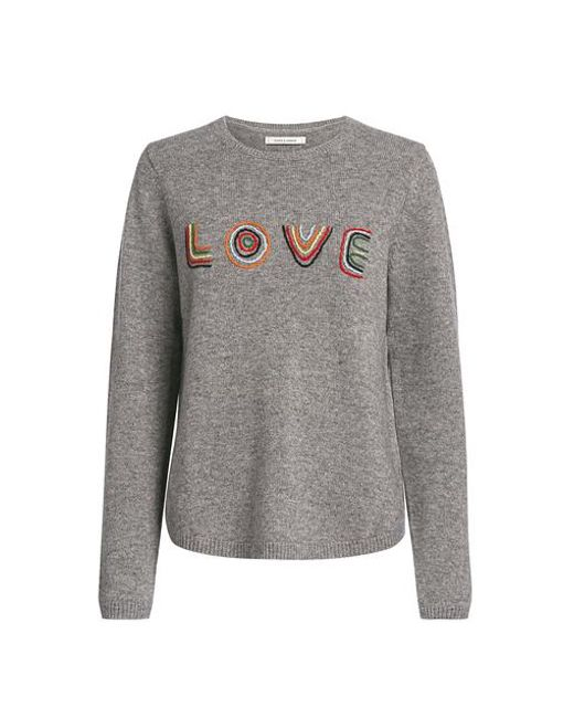 Chinti & Parker - Gray Love Wool-cashmere Blend Embroidered Sweater - Lyst