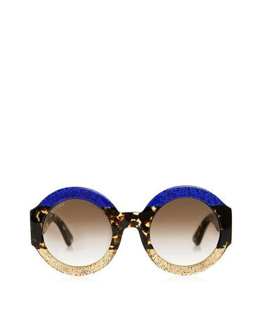 d5174ab5c Gucci - Multicolor Glitter Tortoise Stripe Round Sunglasses - Lyst ...