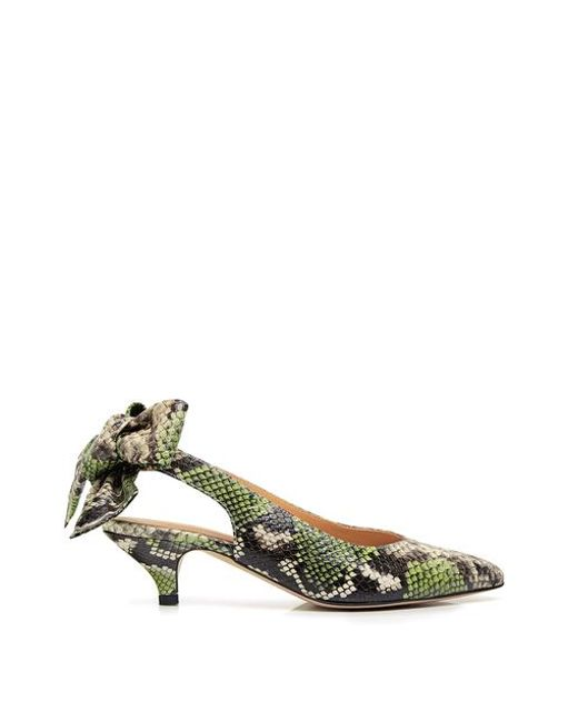 35e9e5add4f Ganni - Multicolor Leather Sabine Snake-effect Pointed-toe Bow Tie  Slingback Kitten Heels ...