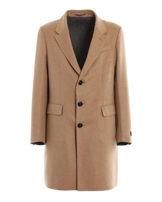 Ermenegildo Zegna Natural Wool And Cashmere Single Breasted Coat for men