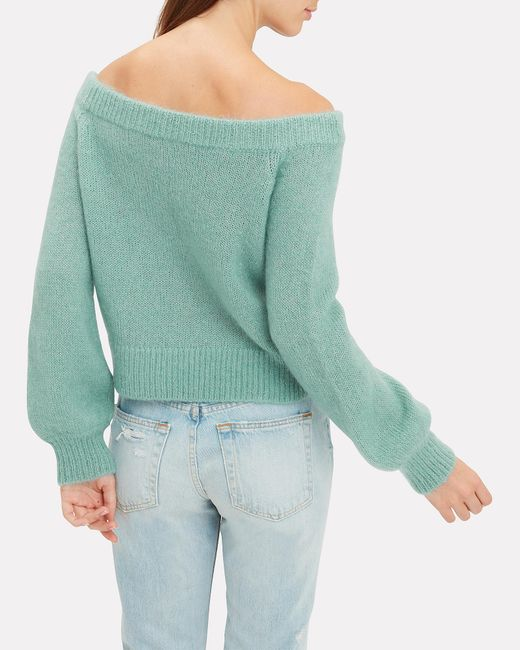 2d0323cc0f Lyst - Intermix Adelina Off Shoulder Sweater in Green - Save 24%